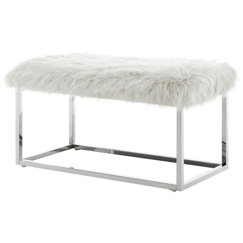Admirable Joseph White Faux Fur Bench Chrome Frame Ottoman In White Posh Living Squirreltailoven Fun Painted Chair Ideas Images Squirreltailovenorg