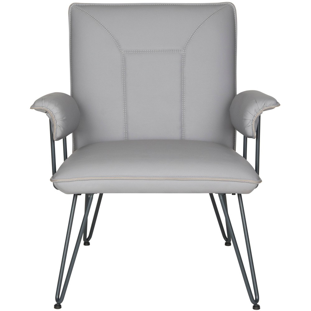 "Image of ""17"""" Johannes Mid Century Modern Leather Arm Chair Gray/Black - Safavieh"""