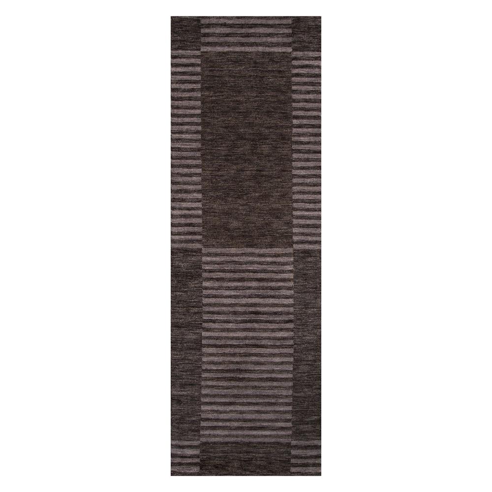 2'6X8' Stripe Loomed Runner Carbon - Momeni, Blue