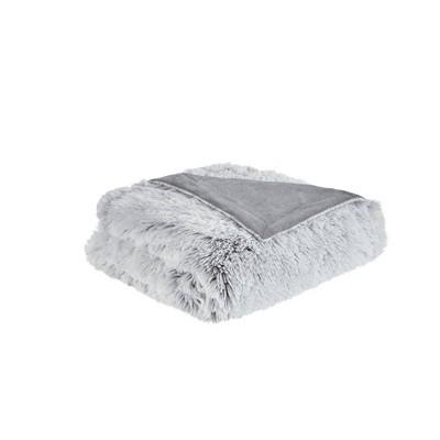 "50x60"" Maddie Shaggy Faux Fur Throw Blanket Gray"