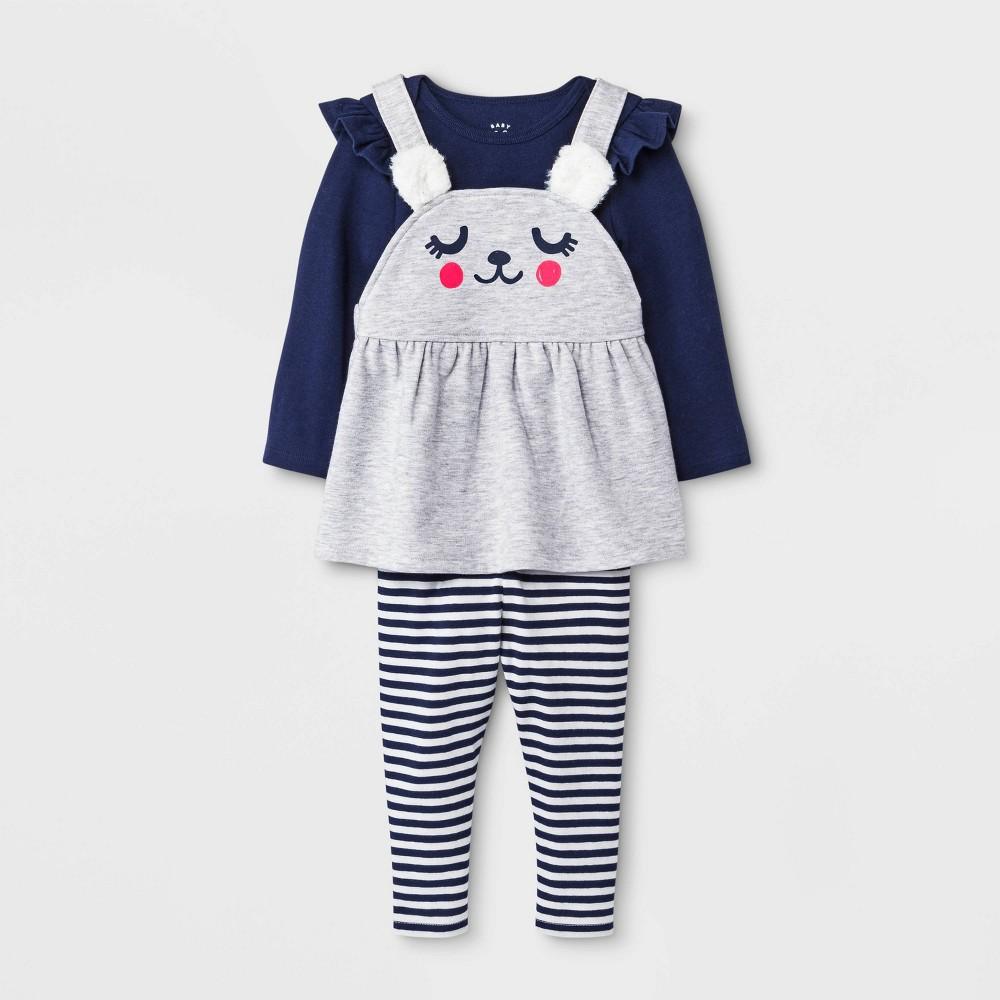 Image of Baby Girls' 3pc Critter Skirtall, Ruffle Shoulder Bodysuit and Leggings Set - Cat & Jack Gray/Blue 0-3M, Girl's, Blue/Gray