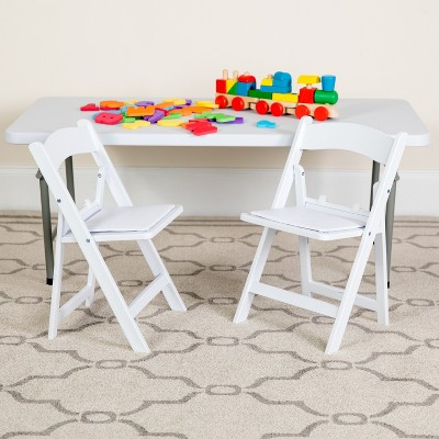 Emma and Oliver 2 Pack Kids White Resin Folding Event Party Chair with Vinyl Padded Seat
