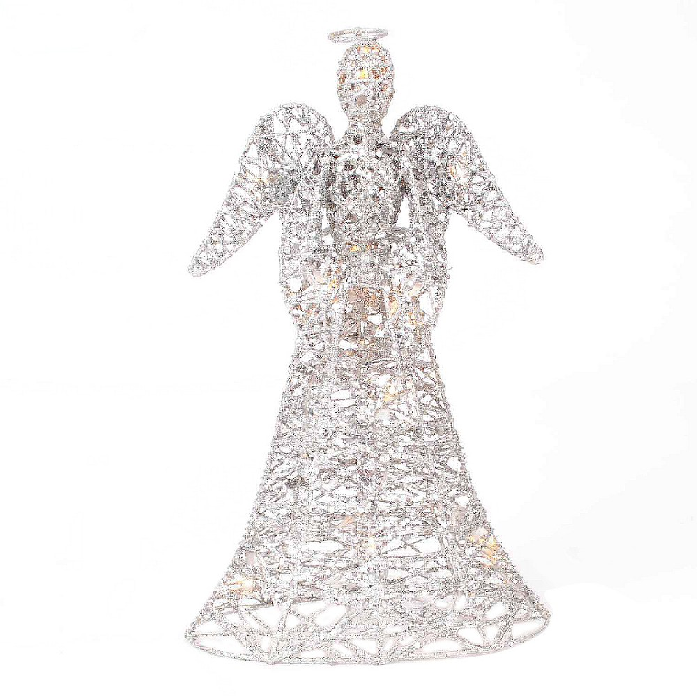 Angel Christmas Tree Topper - Silver Glitter