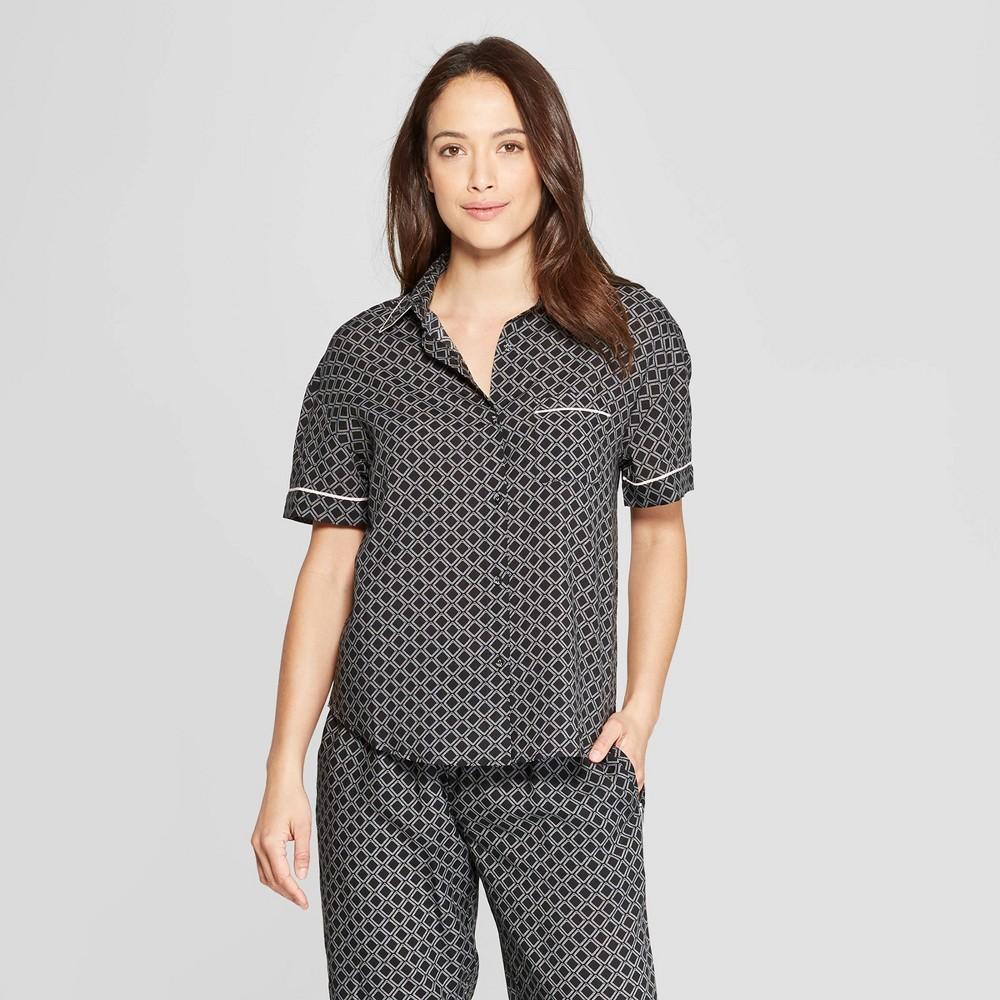Women's Geo Print Simply Cool Short Sleeve Button-Up Shirt - Stars Above Black L