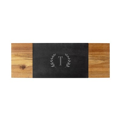 """Cathy's Concepts 8"""" x 23.1"""" Wood Personalized Charcuterie Board with Cheese Knife Letter T"""