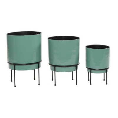 Set of 3 Contemporary Metal Planters - Olivia & May