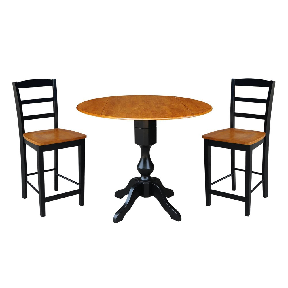 "Image of ""36.3"""" Round Pedestal Gathering Height Table with 2 Counter Height Stools Natural/Black - International Concepts"""