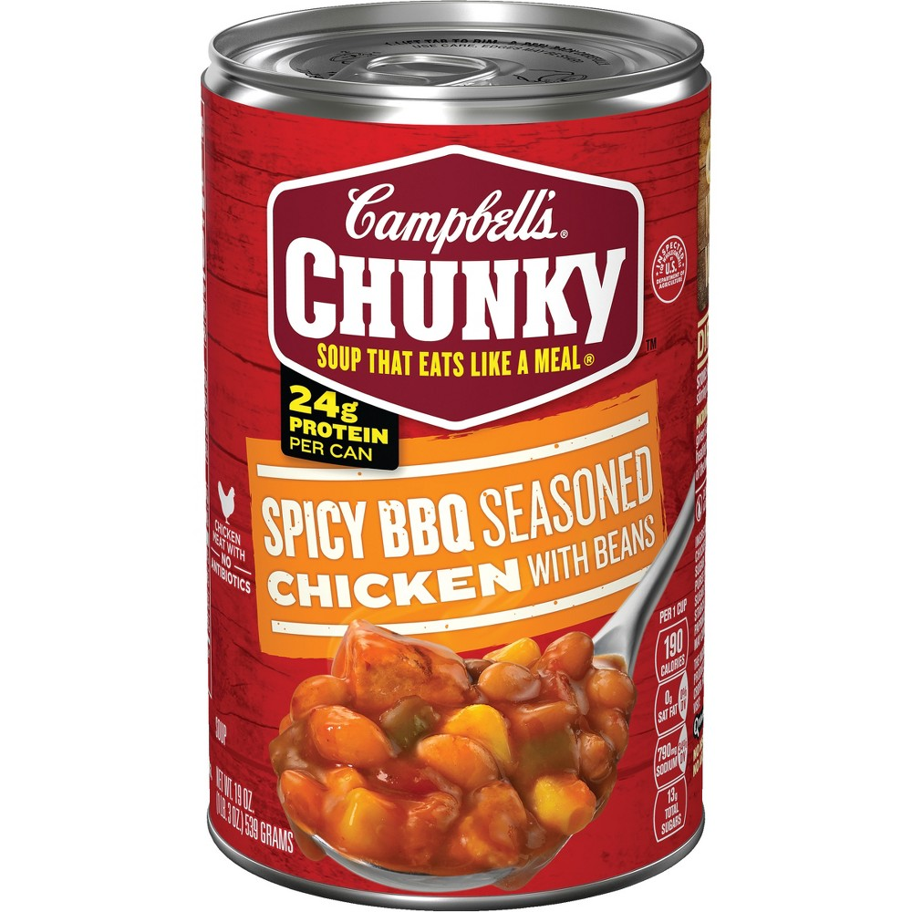 Campbell's Chunky Spicy Bbq Seasoned Chicken with Beans Soup 19 oz