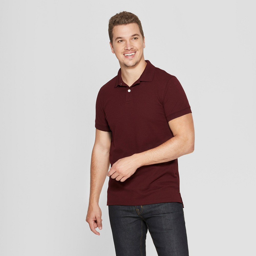 Men's Standard Fit Short Sleeve Pique Loring Polo Shirt - Goodfellow & Co Pomegranate Mystery M