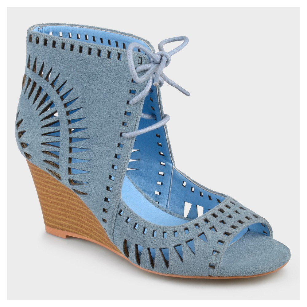 Women's Journee Collection Lace-up Laser Cut Wedges - Blue 5.5