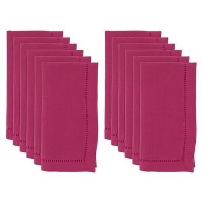 "22"" 12pk Polyester Hemstitched Border Dinner Napkins Pink - Saro Lifestyle"