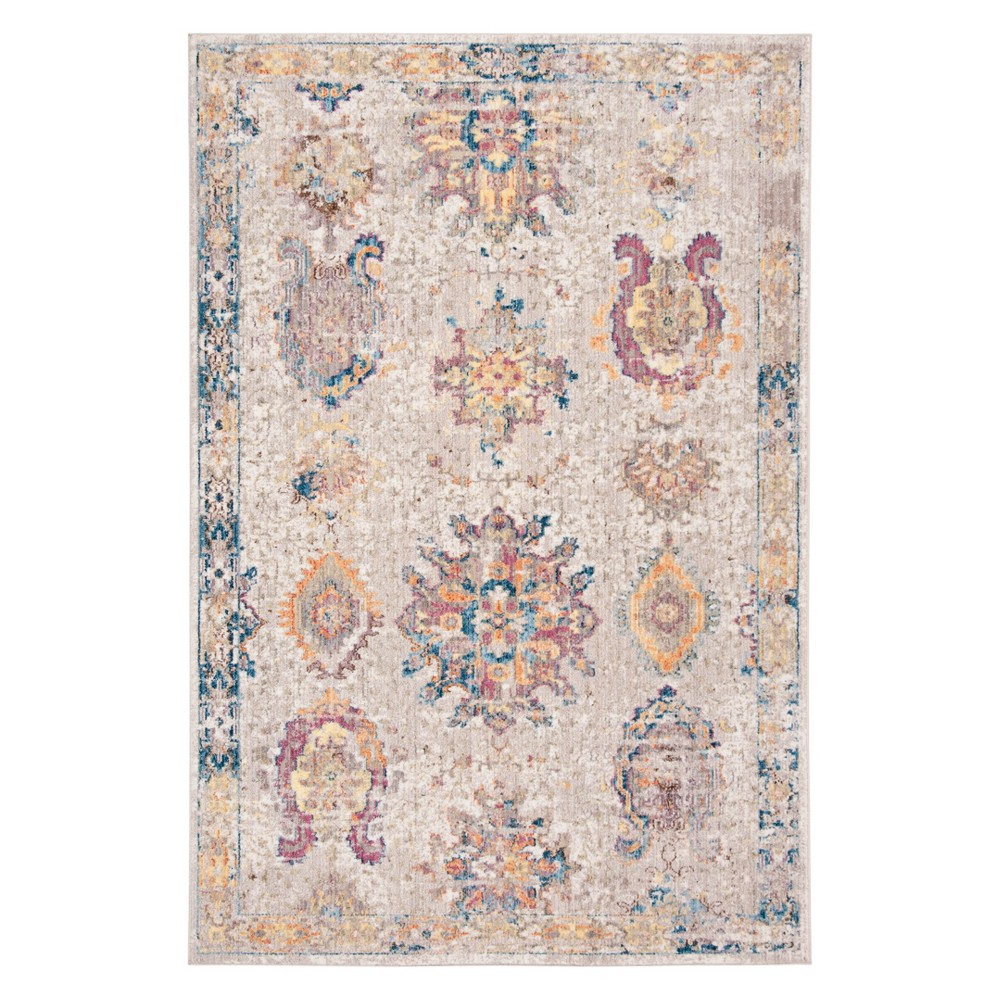 4'X6' Medallion Loomed Area Rug Light Gray/Blue - Safavieh