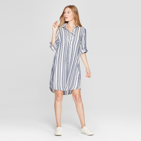 8981f52f5088 Women s Striped Lace-Up Shirt Dress - Lux II - Navy Ivory 16   Target