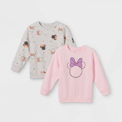 Toddler Girls' 2pk Minnie Mouse Fleece Crew Neck Pullover - Pink