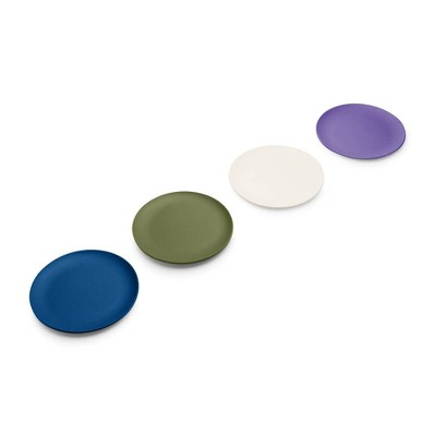 """Red Rover 7"""" 4pk Bamboo Kids' Plates Blue/Green/Purple"""