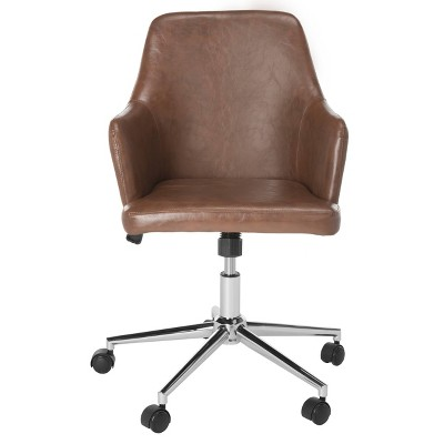 Cadence Swivel Office Chair Brown/Chrome - Safavieh
