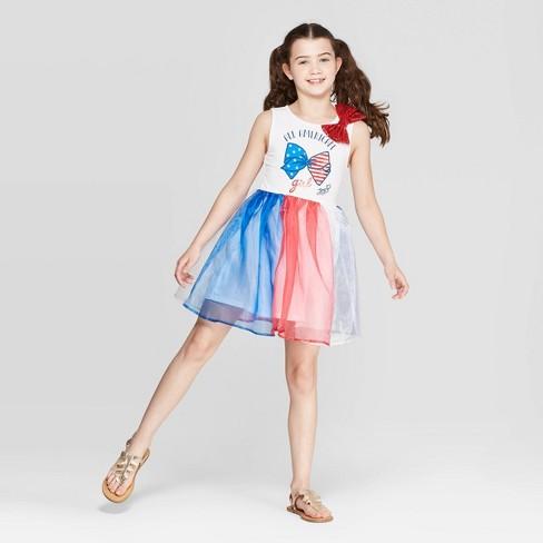 Girls' JoJo Siwa Americana Dress - White/Red - image 1 of 3
