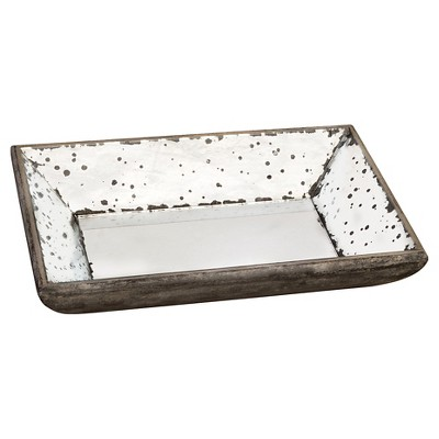 Vintage Finish Mirrored Glass Tray - 9x13
