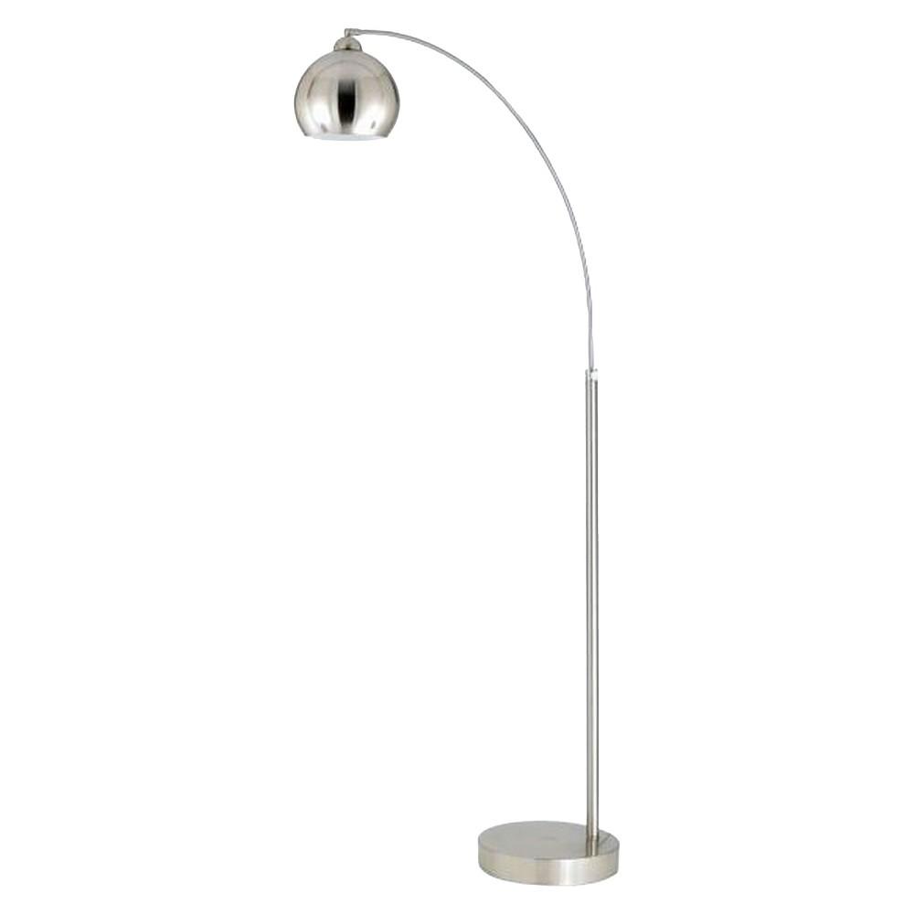 Arc Floor Lamp With Metal Shade, Brushed Steel