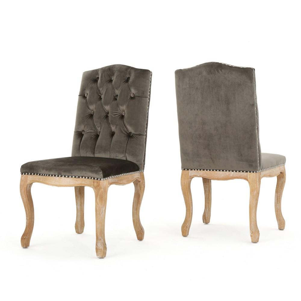 Shylo New Velvet Dining Chair - Gray (Set of 2) - Christopher Knight Home