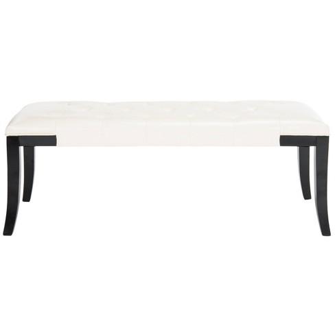 Peachy Tyler Bench White Safavieh Andrewgaddart Wooden Chair Designs For Living Room Andrewgaddartcom