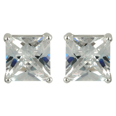 Sterling Silver Princess Stud Earring - Silver - image 1 of 1