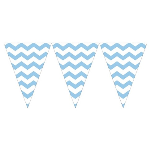 Pastel Blue Chevron Stripes Party Banner - image 1 of 1