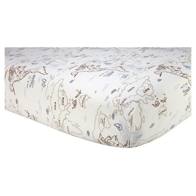 Sadie & Scout® Fitted Crib Sheet - Zahara - World Map