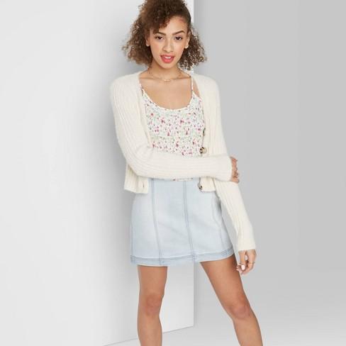Women's Seamed Denim Mini Skirt - Wild Fable™ Light Wash 8 - image 1 of 3