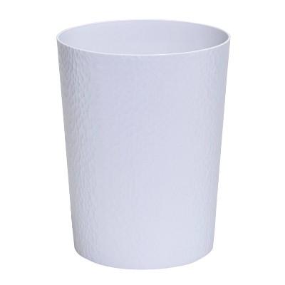 10L Hammered Round Waste Bin White - Bath Bliss