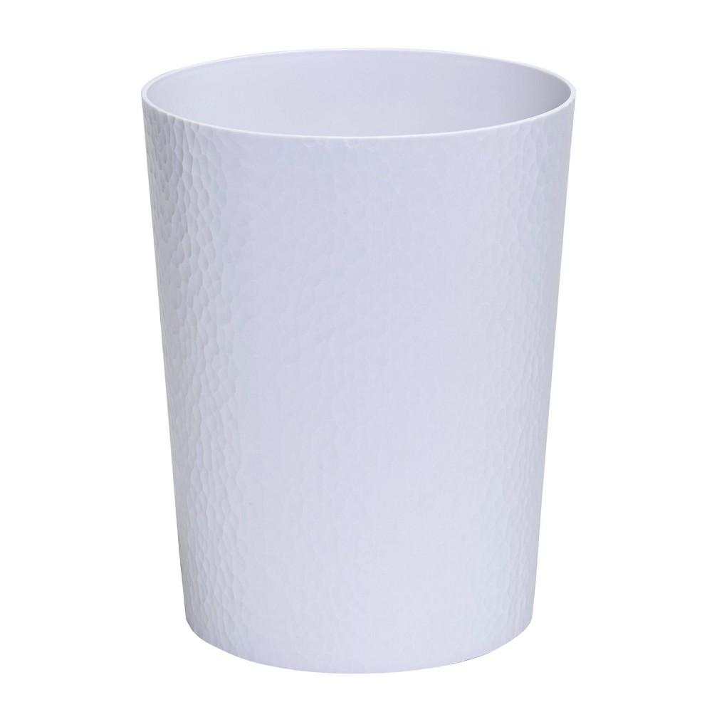 Image of 10L Hammered Round Waste Bin White - Bath Bliss