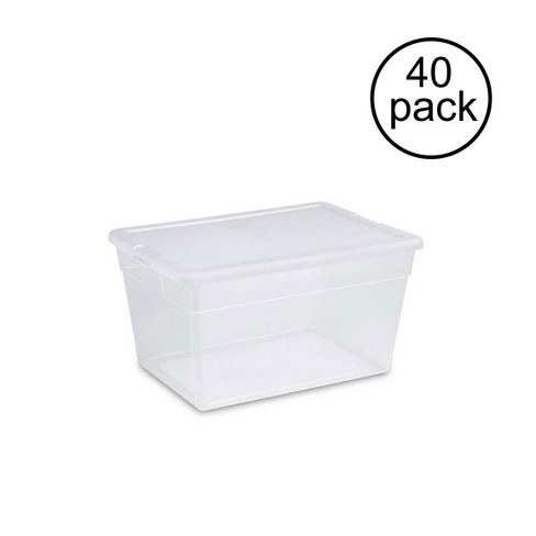 Sterilite 56 Quart Clear Plastic Storage Container Box And Latching Lid 40 Pack Target