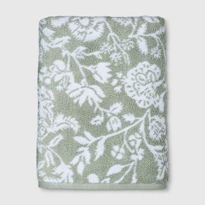 Performance Floral Bath Towel Sage - Threshold™