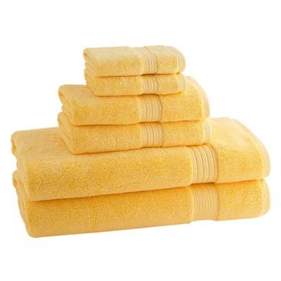 6pc Signature Solid Bath Towel Set Pinapple - Cassadecor
