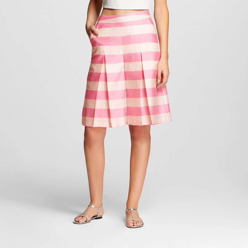 Women's Pleated Coulottes with Pockets Pink/Ivory XL - Renn