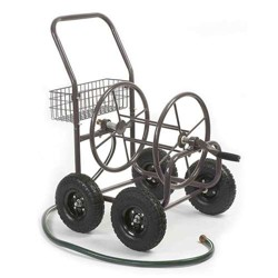 Liberty Garden 871 4 Wheel 250 Foot Steel Frame Water Hose Reel Cart with Basket