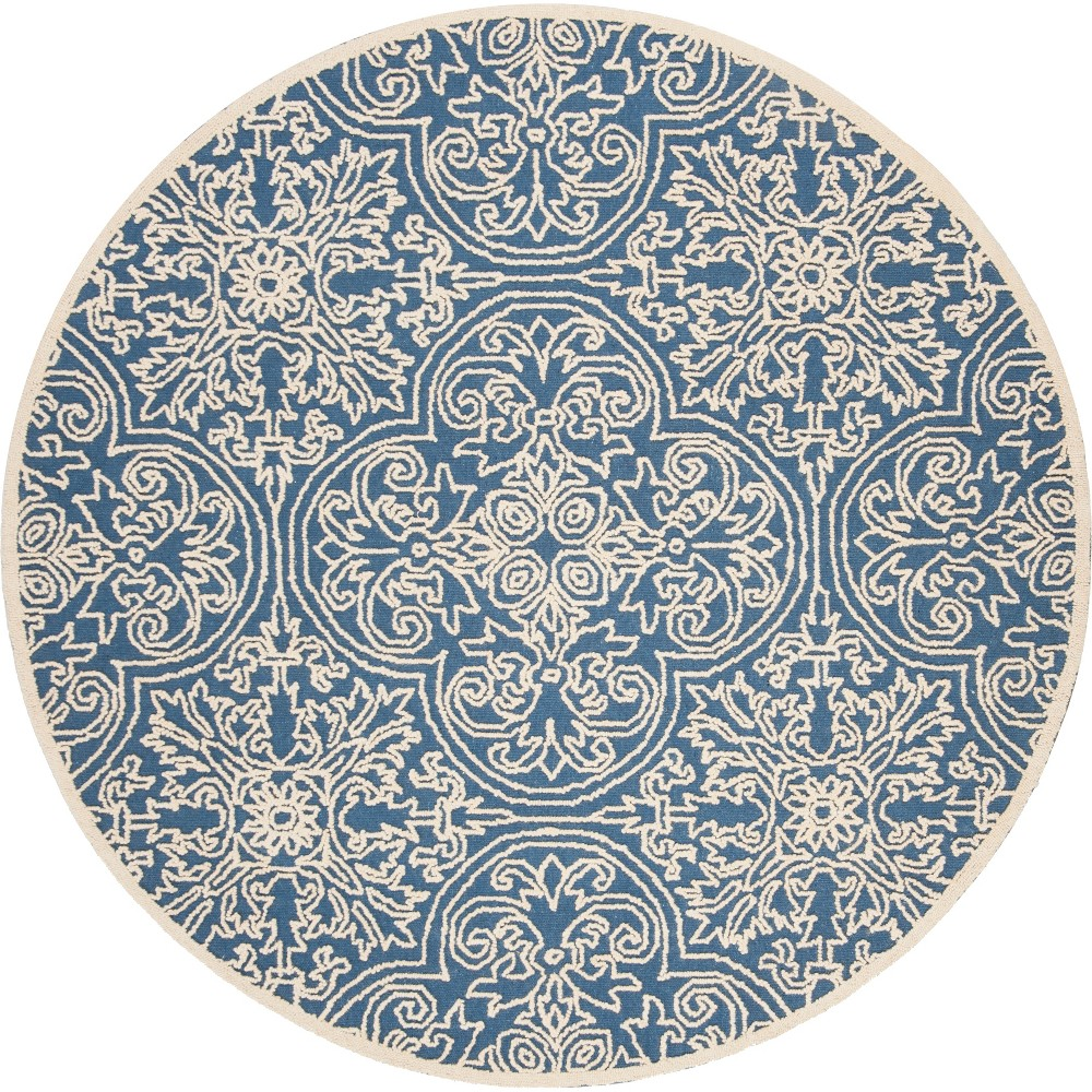 6' Shapes Tufted Round Area Rug Blue/Ivory - Safavieh