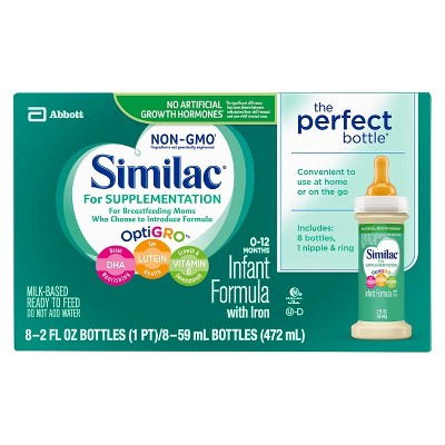Similac 6pk Supplementation Non-GMO Ready-to-Feed Formula Bottle - 2 fl oz (48ct)Bundle