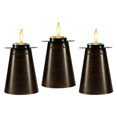 7.5  3pk Clean Burn Fire Pillar Metal Table Torch Copper - TIKI