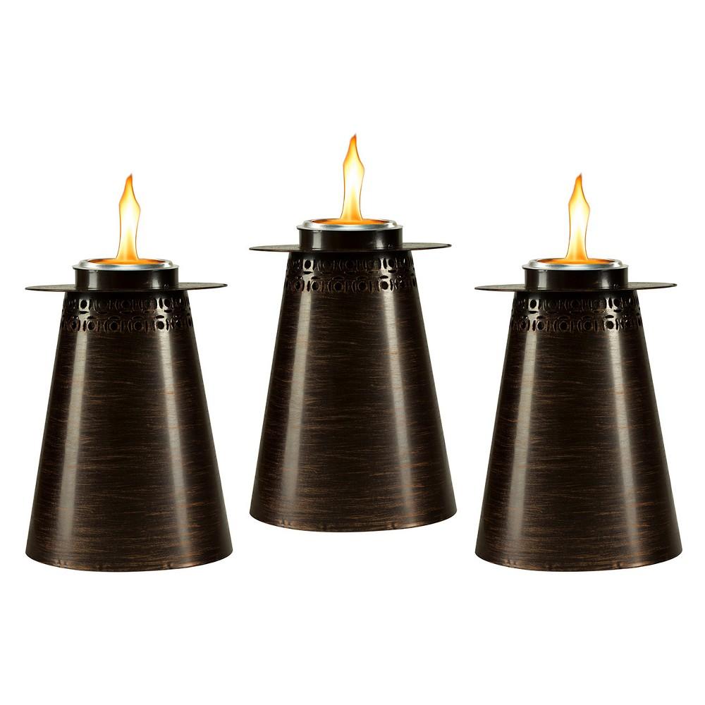 "Image of ""7.5"""" 3pk Clean Burn Fire Pillar Metal Table Torch Copper - TIKI, Brown"""