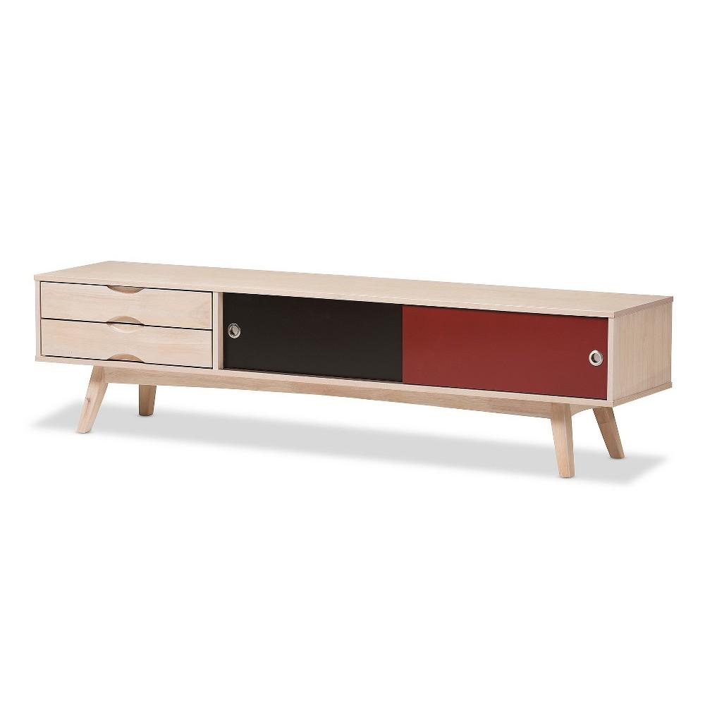 Foxhill Mid - Century Modern Scandinavian Inspired Red/Black Solid Rubberwood TV Stand - Baxton Studio