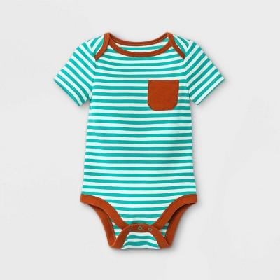 Baby Boys' Striped Short Sleeve Bodysuit with Pocket - Cat & Jack™ Jade Green 0-3M