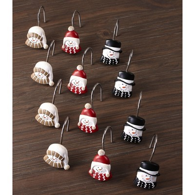 Lakeside Snowman Shower Curtain Hooks with Retro Look - Decorative Rings - Set of 12