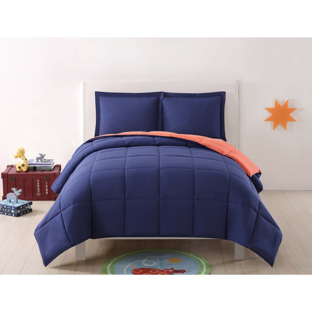 Full/Queen Anytime Solid Comforter Set Navy/Orange (Blue/Orange) - My World