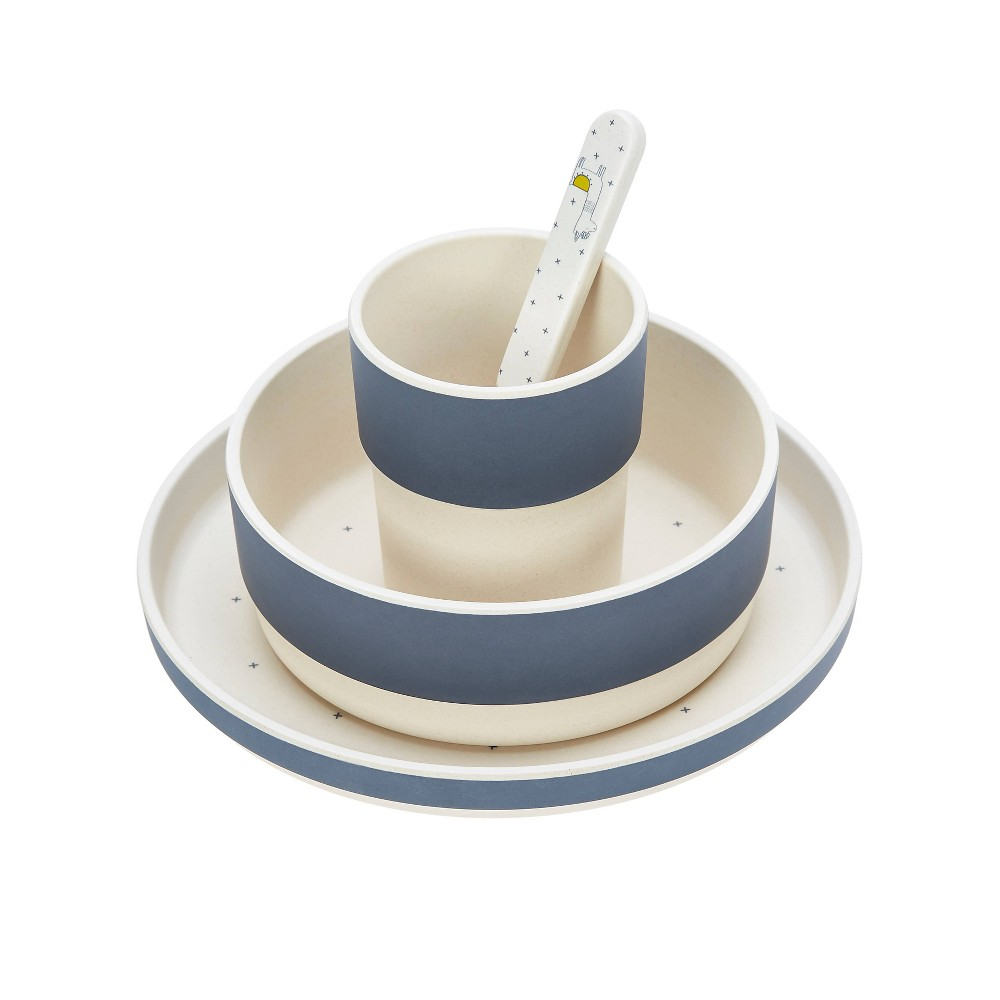 Image of Lassig Bamboo Dish Set - 4pc Glama Llama Blue