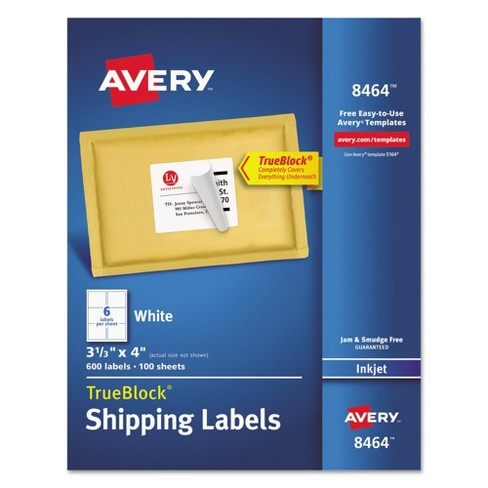 Avery® 08464, Shipping Labels w/Ultrahold Ad & TrueBlock, Inkjet, 3 1/3 x 4, White, 600/Box - image 1 of 2