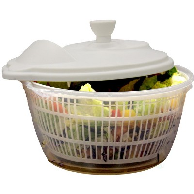 Basicwise Clear Salad Spinner, Vegetable Washer and Dryer with Bowl