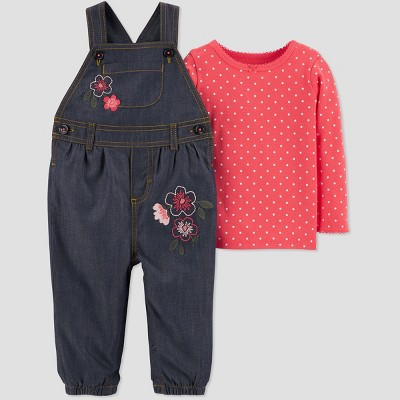 Baby Girls' 2pc Floral Denim Overall Set - Just One You® made by carter's Blue Newborn