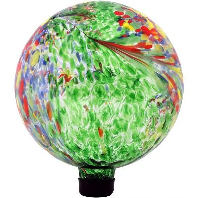 """10""""H Artistic Glass Gazing Ball - Green - Sunnydaze Decor"""
