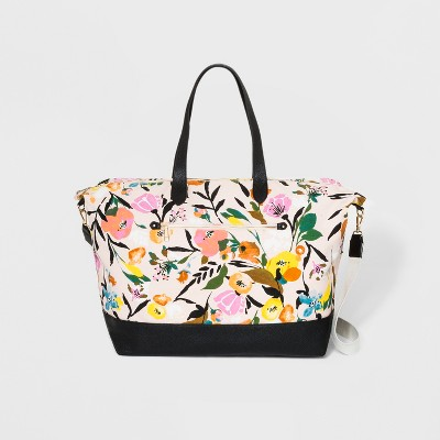 Floral Canvas Weekender Bag - A New Day™ White/Black